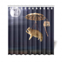InterestPrint Funny Cat flying on Umbrella Home Decor, Full Moon Night Cute Animal Kitten Polyester Fabric Shower Curtain Bathroom Sets with Hooks