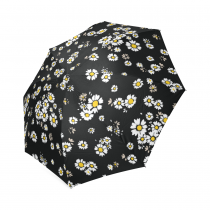 InterestPrint White Daisy Floral Foldable Travel Rain Umbrella