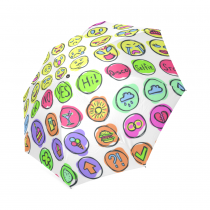 InterestPrint Funny Emoji Emoticons Doodle Set Foldable Travel Rain Umbrella