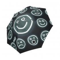 InterestPrint Funny Black Emoji Foldable Travel Rain Umbrella