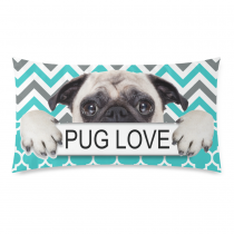 InterestPrint Puppy Pug Dog Pug Love Green Chevron Pattern Pillowcase Standard Size 20 x 36 Inches One Side - A Pug Dog with Pug Love in Hands Chevron Pillow Cases Cover Set Pet Shams Decorative