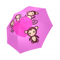 InterestPrint Pink Emoji Monkey Love Heart Foldable Travel Rain Umbrella