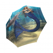 InterestPrint Cute Mermaid Dolphin Blue Ocean Foldable Travel Rain Umbrella