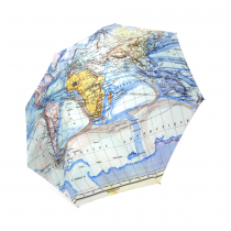 InterestPrint Vintage World Map Blue Foldable Travel Rain Umbrella