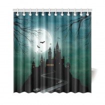 InterestPrint Full Moon Night Home Decor, Halloween Haunted Castle Polyester Fabric Shower Curtain Bathroom Sets with Hooks