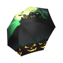 InterestPrint Cool Halloween Black House Pumpkin Foldable Travel Rain Umbrella