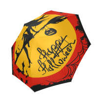 InterestPrint Halloween Black Witch Yellow Moon Cat Foldable Travel Rain Umbrella