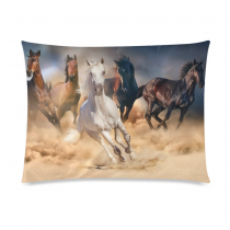 InterestPrint Unique Running Horse Home Decor, Horse Herd Run in Desert Sand Storm Pillowcase 20 x 26 Inches one side - Animal Theme Pillow Cover Case Shams Decorative