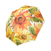 InterestPrint Clear Yellow Sunflowers Floral Foldable Travel Rain Umbrella