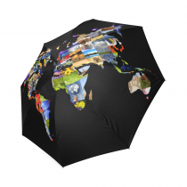 InterestPrint World Map Colorful Photo Black Foldable Travel Rain Umbrella