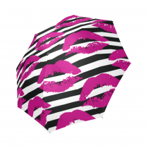 InterestPrint Pink Lips Black Plaid Striped Emoji Foldable Travel Rain Umbrella