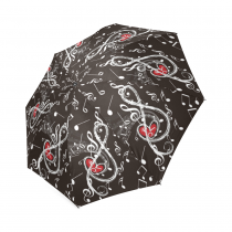 InterestPrint Black Music Note Red Heart Foldable Travel Rain Umbrella