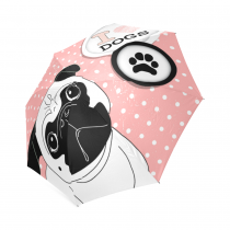 InterestPrint Pug Puppy Dog Paw Print Polka Dot Foldable Travel Rain Umbrella