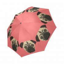 InterestPrint Pink Pug Puppy Dog Foldable Travel Rain Umbrella
