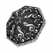 InterestPrint Black and White Music Note Piano Keyboard Foldable Travel Rain Umbrella