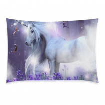 InterestPrint Home Decor Majestic Unicorn with little fairies , Horse Pony Pillowcase 20 x 30 Inches One Side - Flower Pillow Cover Case Shams Decorative