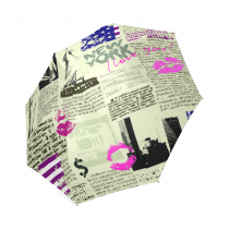 InterestPrint New York City Newspaper Liberty Red Lips Foldable Travel Rain Umbrella