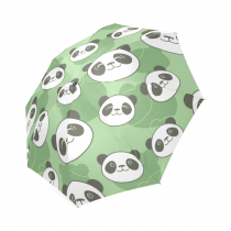 InterestPrint Cute Panda Emoji Green Foldable Travel Rain Umbrella