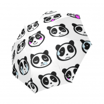 InterestPrint Cute Panda Emoji White Foldable Travel Rain Umbrella