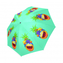InterestPrint Cute Laughing Fruit Emoji Pineapple Green Foldable Travel Rain Umbrella