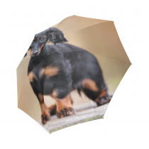 InterestPrint Black Dachshund Puppy Foldable Travel Rain Umbrella