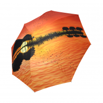 InterestPrint Ocean Tree Music Guitar Red Sunset Bird Foldable Travel Rain Umbrella