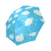 InterestPrint Blue Sky Sheep Clouds Weather Symbols Stars Foldable Travel Rain Umbrella For Kids