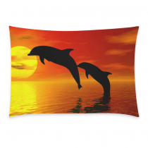 InterestPrint Home Decor Spray Water Dolphins , Ocean Sea Sunset Pillowcase 20 x 30 Inches One Side - Strong and Vigorous Dolphin Soft Pillow Cover Case Shams Decorative