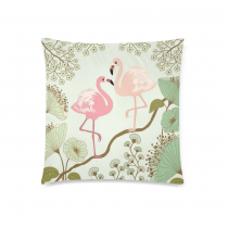 InterestPrint Home Decor Vintage Pink Flamingos , Beautiful Lotus Flower Pillowcase 18 x 18 Inches - Water Lily Soft Pillow Cover Case Shams Decorative