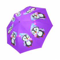 InterestPrint Cute Penguin Emoji Ice Cream Purple Foldable Travel Rain Umbrella