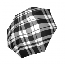 InterestPrint Scottish Tartan Plaid Pattern Black and White Foldable Travel Rain Umbrella