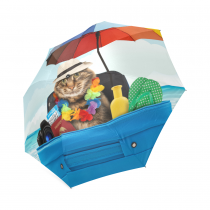 InterestPrint Hipster Cat on Vacation Polka Dot Flower Foldable Travel Rain Umbrella