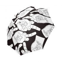 InterestPrint Black And White Middle Finger Hnads Foldable Travel Rain Umbrella