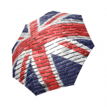 InterestPrint Retro Great Britain Flag Union Jack on Old Brick Wall Foldable Travel Rain Umbrella