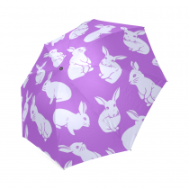 InterestPrint Fashion Cute Bunny White Rabbit Purple Foldable Travel Rain Umbrella