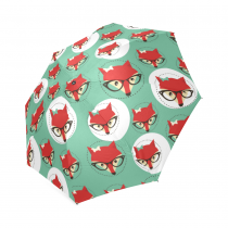 InterestPrint Hipster Red Fox Face in Glasses Blue Foldable Travel Rain Umbrella