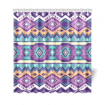 InterestPrint Ethnic Aztec Home Decor, Purple Bohemian Polyester Fabric Shower Curtain Bathroom Sets with Hooks