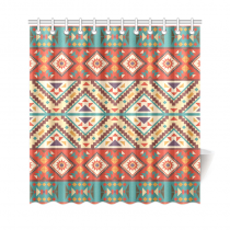 InterestPrint Colorful Navajo Home Decor, Ethnic Geometry Polyester Fabric Shower Curtain Bathroom Sets with Hooks