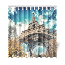 InterestPrint Beautiful Eiffel Tower and Sky of Paris Home Decor, European Cityscape Polyester Fabric Shower Curtain Bathroom Sets with Hooks