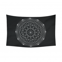 InterestPrint Mandala Logo Line Sacred Geometry Tapestry Horizontal Wall Hanging Abstract Black and White Wall Decor Art for Living Room Bedroom Dorm Cotton Linen Decoration
