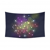 InterestPrint Universe Space Sacred Geometry Tapestry Horizontal Wall Hanging Mystical Abstract Symbol Wall Decor Art for Living Room Bedroom Dorm Cotton Linen Decoration