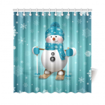 InterestPrint Skling Snowman Home Decor, Christmas Cartoon Character Polyester Fabric Shower Curtain Bathroom Sets with Hooks