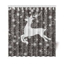 InterestPrint Christmas Deer Home Decor, Happy New Year Polyester Fabric Shower Curtain Bathroom Sets with Hooks