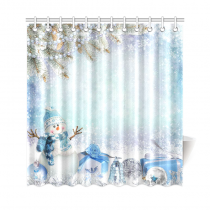 InterestPrint Christmas Greeting Snowman Home Decor, Pine Branches Winter Landscape Polyester Fabric Shower Curtain Bathroom Sets with Hooks