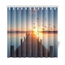 InterestPrint Sunrise Long Pier Leading out onto the Lake Home Decor, Wooden Bridge Polyester Fabric Shower Curtain Bathroom Sets with Hooks