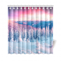 InterestPrint Courful Winter Scene Home Decor, Sunset Snowy Mountain Landscape Polyester Fabric Shower Curtain Bathroom Sets with Hooks