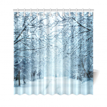 InterestPrint Winter Landscape Home Decor, Snowy Trees Alley Road Polyester Fabric Shower Curtain Bathroom Sets with Hooks