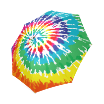 InterestPrint Stylish Tie Dye Rainbow Foldable Umbrella