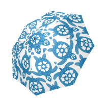 InterestPrint Stylish Blue Sea Turtle Hawaiian Flower Foldable Umbrella