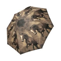 InterestPrint Vintage Cool Horse Foldable Travel Rain Umbrella
